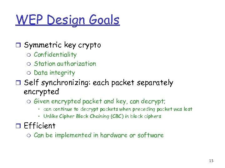 WEP Design Goals r Symmetric key crypto m Confidentiality m Station authorization m Data