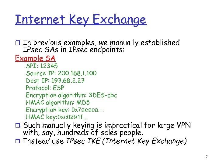 Internet Key Exchange r In previous examples, we manually established IPsec SAs in IPsec