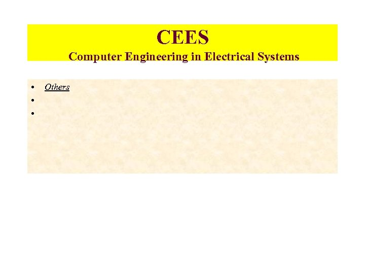 CEES Computer Engineering in Electrical Systems • • • Others