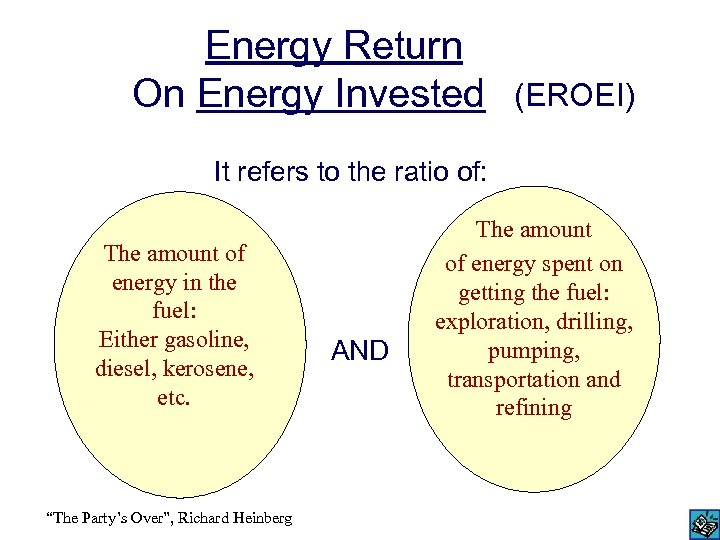 Energy Return On Energy Invested (EROEI) It refers to the ratio of: The amount