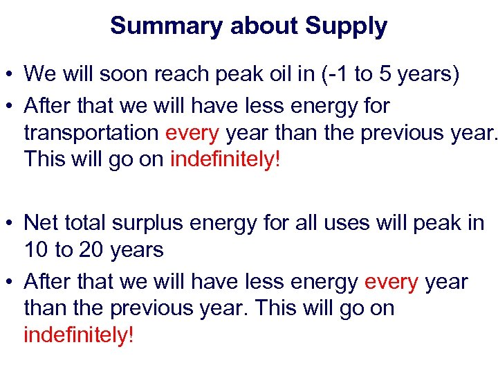 Summary about Supply • We will soon reach peak oil in (-1 to 5