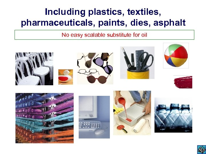 Including plastics, textiles, pharmaceuticals, paints, dies, asphalt No easy scalable substitute for oil