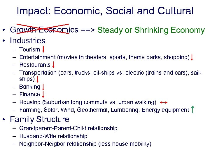 Impact: Economic, Social and Cultural • Growth Economics ==> Steady or Shrinking Economy •