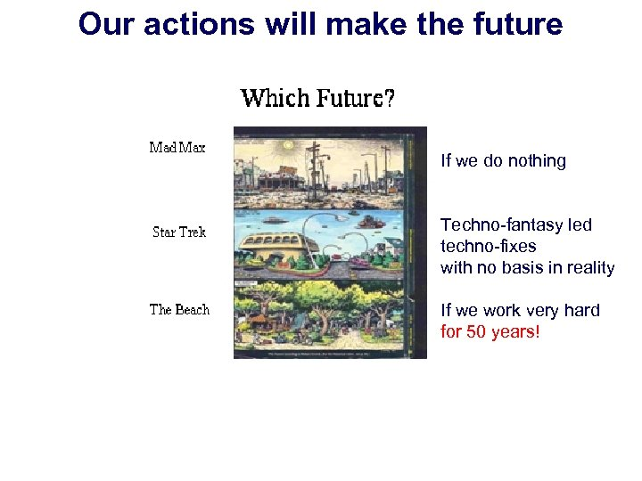 Our actions will make the future If we do nothing Techno-fantasy led techno-fixes with