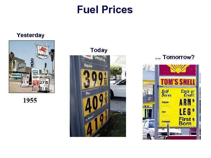 Fuel Prices Yesterday Today … Tomorrow? 1955 2005