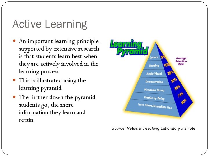 Active Learning An important learning principle, supported by extensive research is that students learn