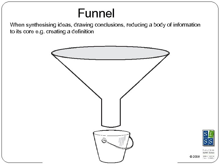 Funnel When synthesising ideas, drawing conclusions, reducing a body of information to its core