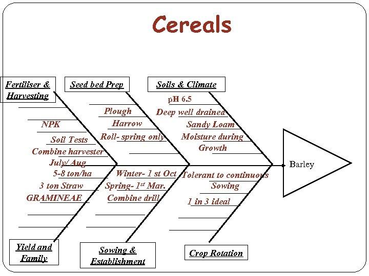 Cereals Fertiliser & Harvesting Seed bed Prep Soils & Climate p. H 6. 5