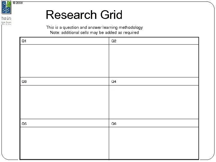 © 2008 Research Grid This is a question and answer learning methodology Note: additional