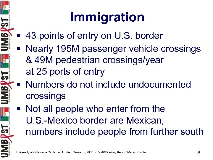 Immigration § 43 points of entry on U. S. border § Nearly 195 M