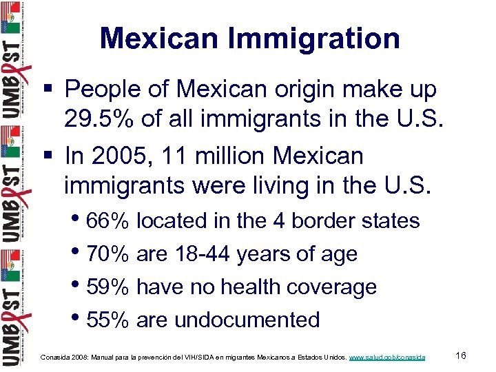 Mexican Immigration § People of Mexican origin make up 29. 5% of all immigrants