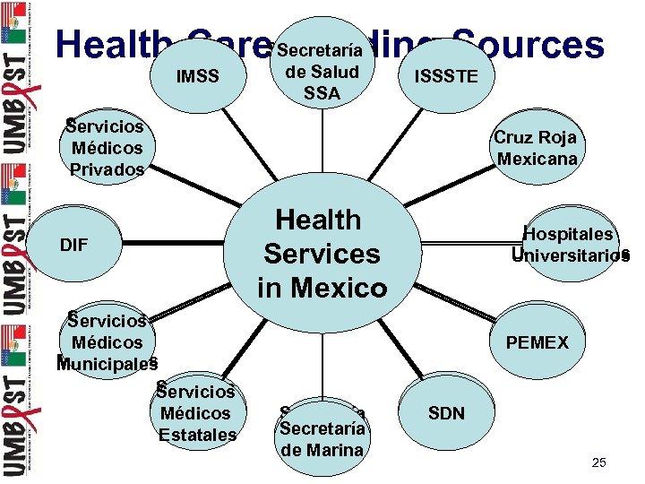 Secretaría Health Care. Secretaría de Funding Sources IMSS Salud de Salud SSA ISSSTE Servicios