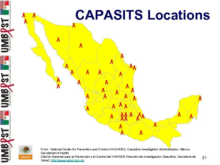 CAPASITS Locations From: National Center for Prevention and Control of HIV/AIDS, Operative Investigation Administration,