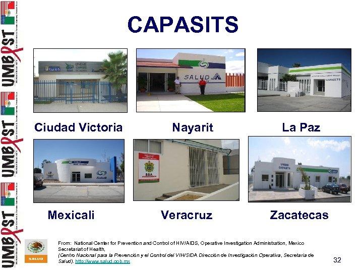 CAPASITS Ciudad Victoria Mexicali Nayarit Veracruz La Paz Zacatecas From: National Center for Prevention
