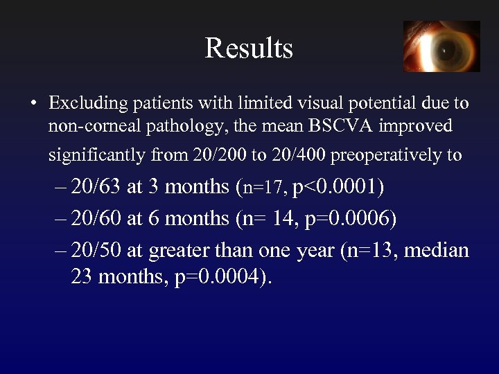 Results • Excluding patients with limited visual potential due to non-corneal pathology, the mean