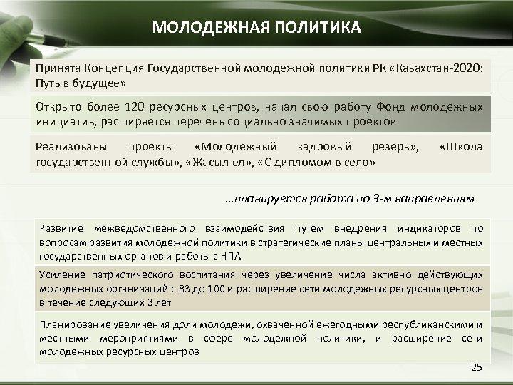 МОЛОДЕЖНАЯ ПОЛИТИКА Принята Концепция Государственной молодежной политики РК «Казахстан-2020: Путь в будущее» Открыто более