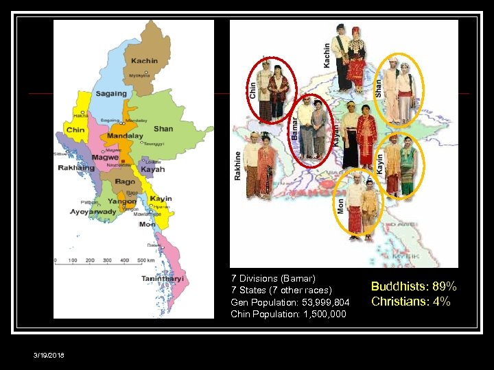 7 Divisions (Bamar) 7 States (7 other races) Gen Population: 53, 999, 804 Chin