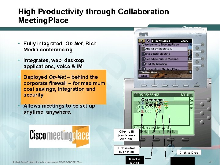High Productivity through Collaboration Meeting. Place • Fully integrated, On-Net, Rich Media conferencing •