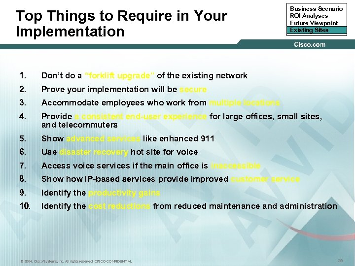 Top Things to Require in Your Implementation Business Scenario ROI Analyses Future Viewpoint Existing