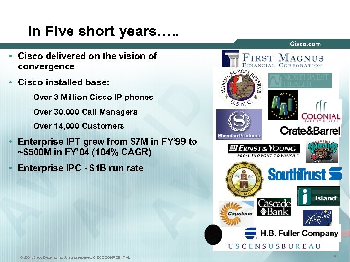 In Five short years…. . • Cisco delivered on the vision of convergence •