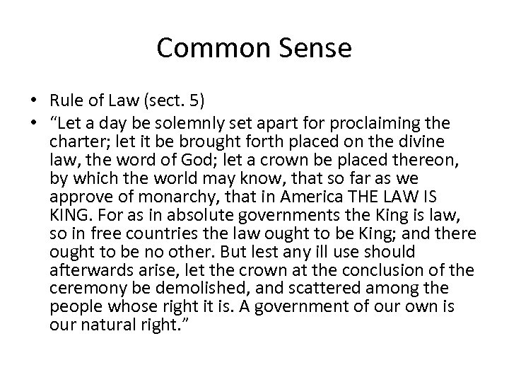 "Common Sense • Rule of Law (sect. 5) • ""Let a day be solemnly"
