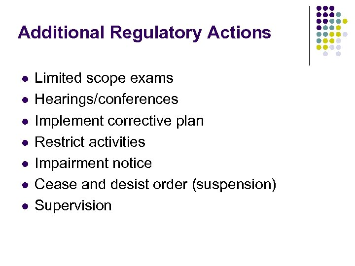 Additional Regulatory Actions l l l l Limited scope exams Hearings/conferences Implement corrective plan