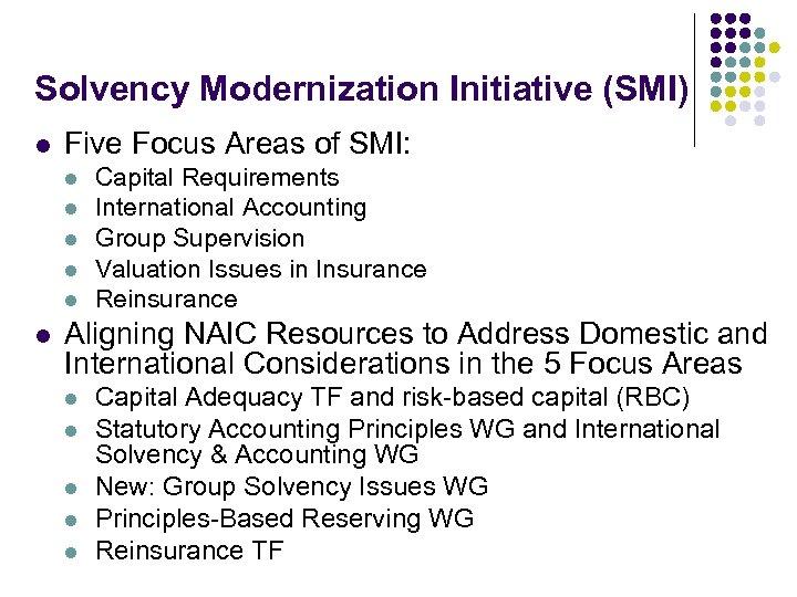 Solvency Modernization Initiative (SMI) l Five Focus Areas of SMI: l l l Capital
