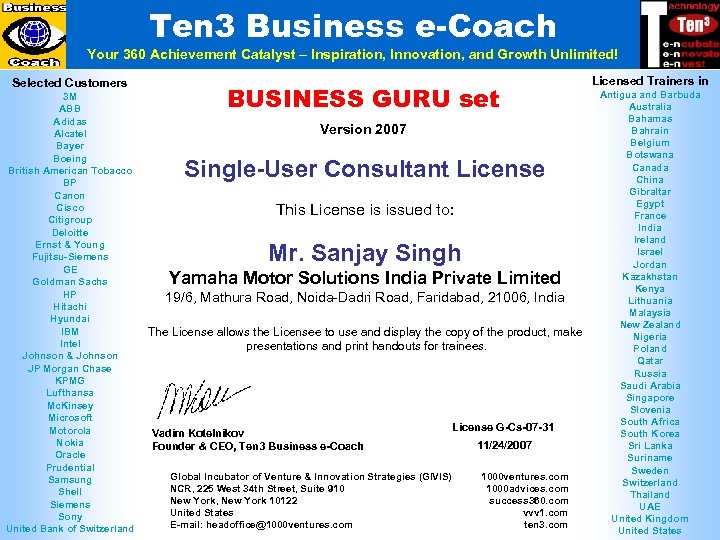 Ten 3 Business e-Coach Your 360 Achievement Catalyst – Inspiration, Innovation, and Growth Unlimited!