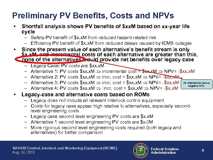 Preliminary PV Benefits, Costs and NPVs • Shortfall analysis shows PV benefits of $xx.