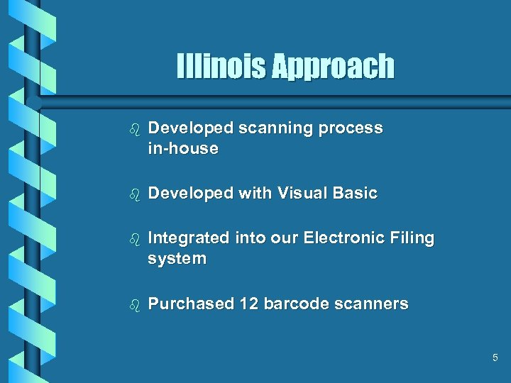 Illinois Approach b Developed scanning process in-house b Developed with Visual Basic b Integrated
