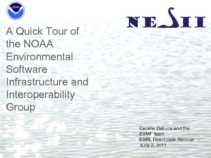 A Quick Tour of the NOAA Environmental Software Infrastructure and Interoperability Group Cecelia De.