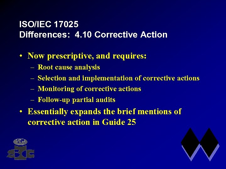 ISO/IEC 17025 Differences: 4. 10 Corrective Action • Now prescriptive, and requires: – –