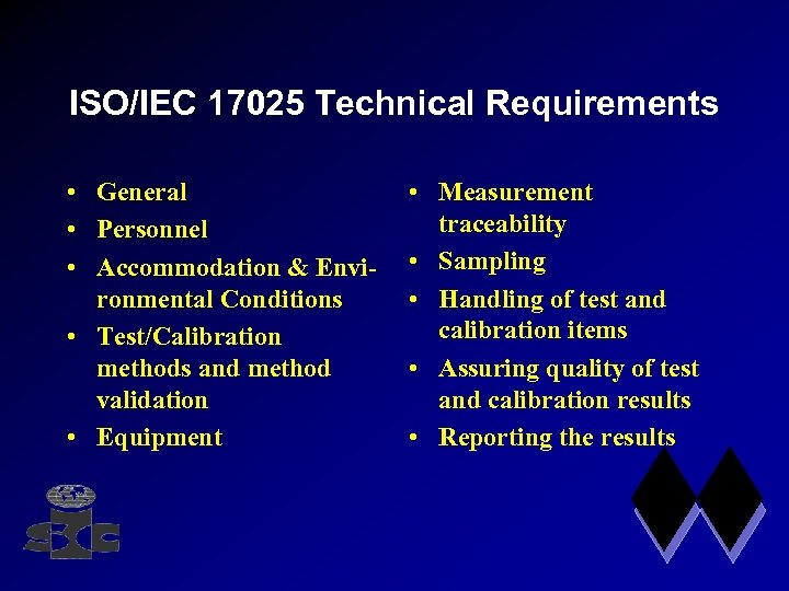 ISO/IEC 17025 Technical Requirements • General • Personnel • Accommodation & Environmental Conditions •