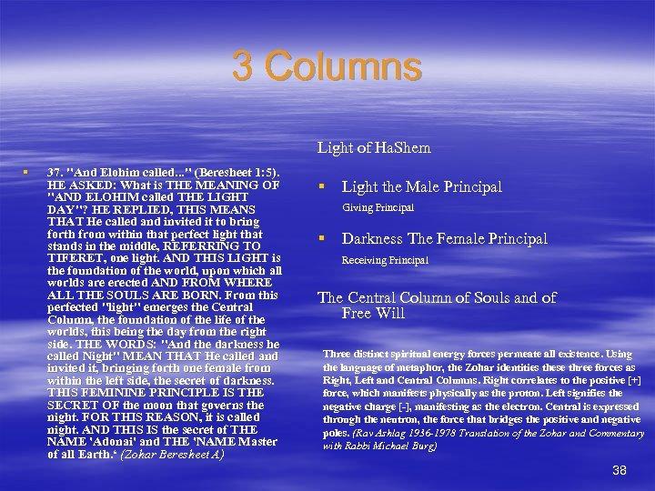3 Columns Light of Ha. Shem § 37.