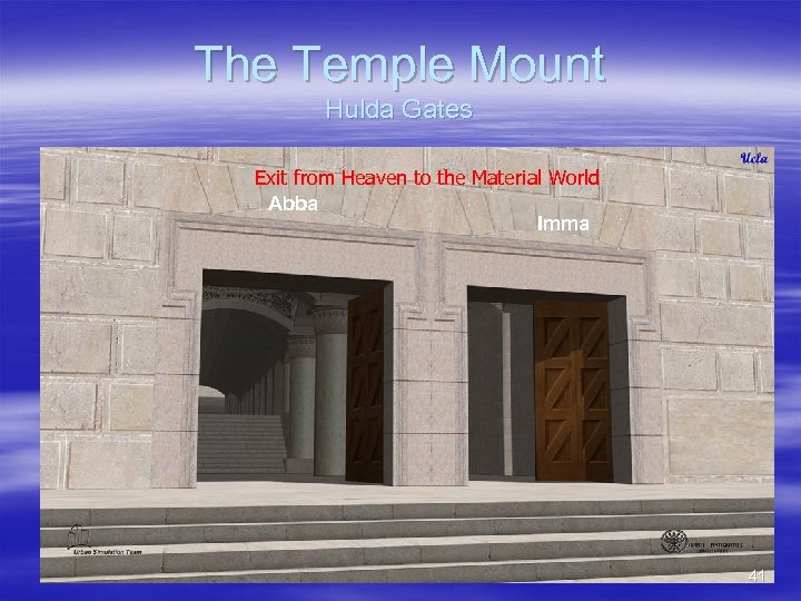 The Temple Mount Hulda Gates Exit from Heaven to the Material World Abba Imma