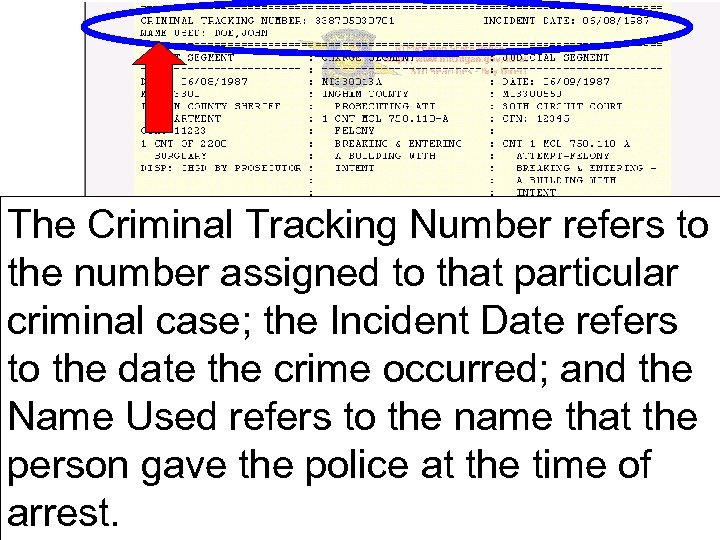 The Criminal Tracking Number refers to the number assigned to that particular criminal case;