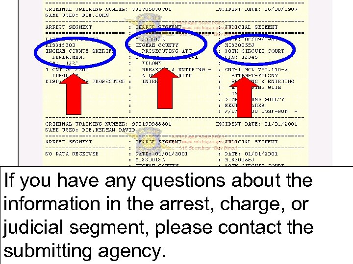 If you have any questions about the information in the arrest, charge, or judicial
