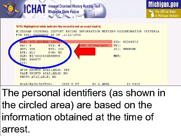 The personal identifiers (as shown in the circled area) are based on the information