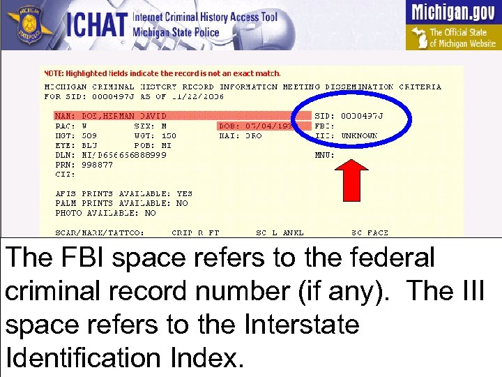 The FBI space refers to the federal criminal record number (if any). The III