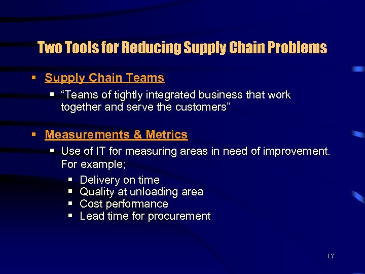 "Two Tools for Reducing Supply Chain Problems § Supply Chain Teams § ""Teams of"