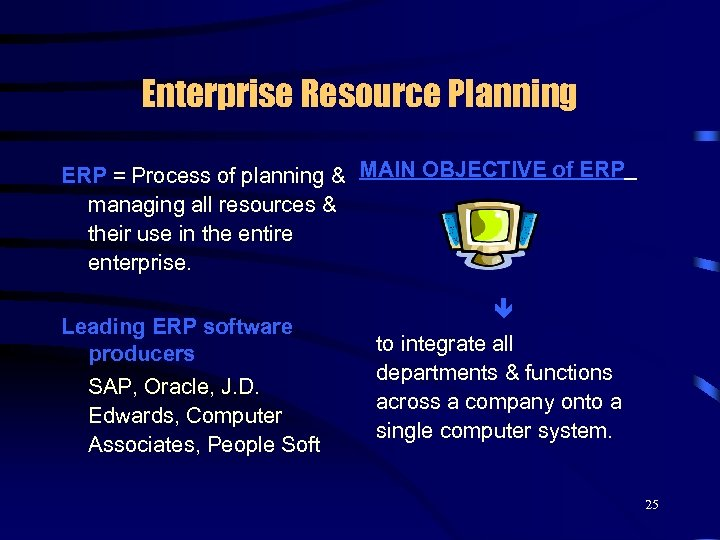 Enterprise Resource Planning ERP = Process of planning & MAIN OBJECTIVE of ERP managing