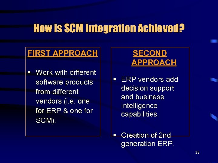 How is SCM Integration Achieved? FIRST APPROACH § Work with different software products from