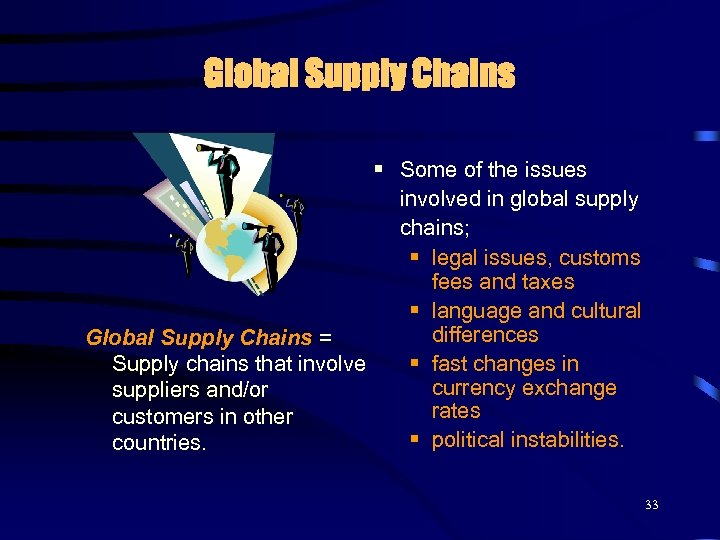 Global Supply Chains § Some of the issues involved in global supply chains; §