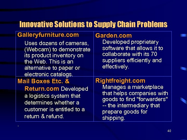Innovative Solutions to Supply Chain Problems Galleryfurniture. com Uses dozens of cameras, (Webcam) to