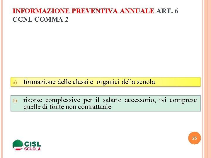 INFORMAZIONE PREVENTIVA ANNUALE ART. 6 CCNL COMMA 2 a) formazione delle classi e organici