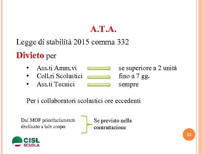 A. T. A. Legge di stabilità 2015 comma 332 Divieto per • • •