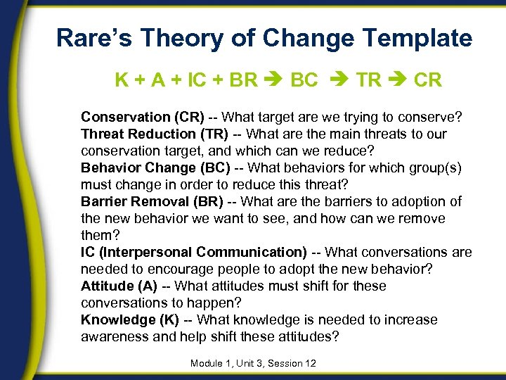 Rare's Theory of Change Template K + A + IC + BR BC TR
