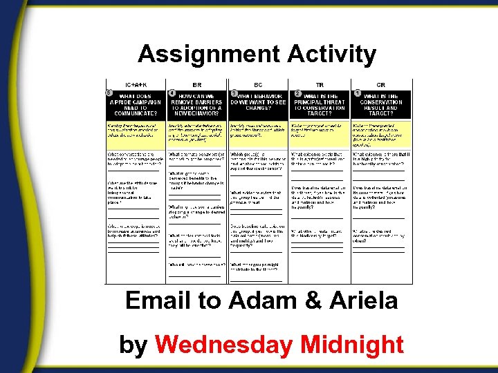 Assignment Activity Email to Adam & Ariela by Wednesday Midnight