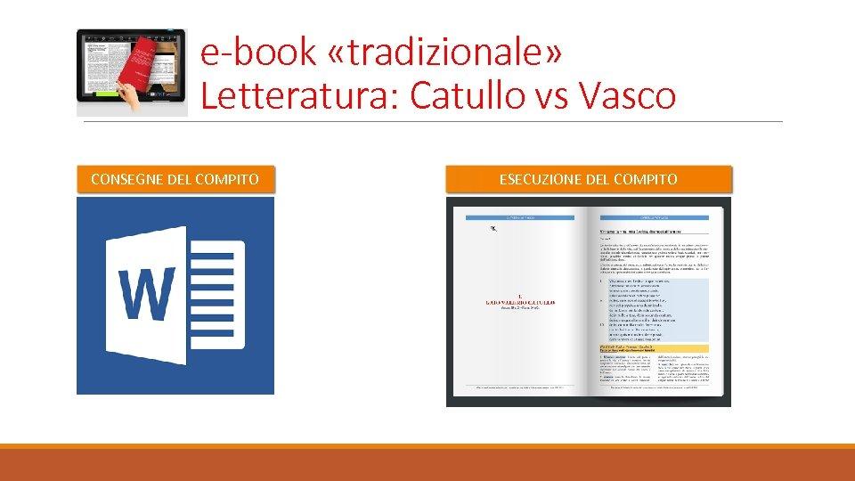 e-book «tradizionale» Letteratura: Catullo vs Vasco CONSEGNE DEL COMPITO ESECUZIONE DEL COMPITO