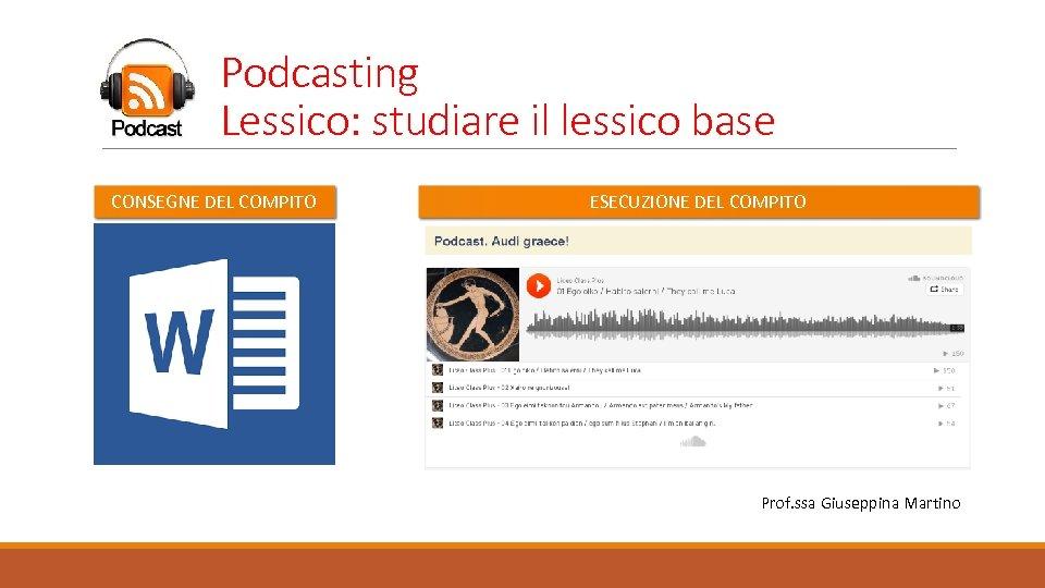 Podcasting Lessico: studiare il lessico base CONSEGNE DEL COMPITO ESECUZIONE DEL COMPITO Prof. ssa